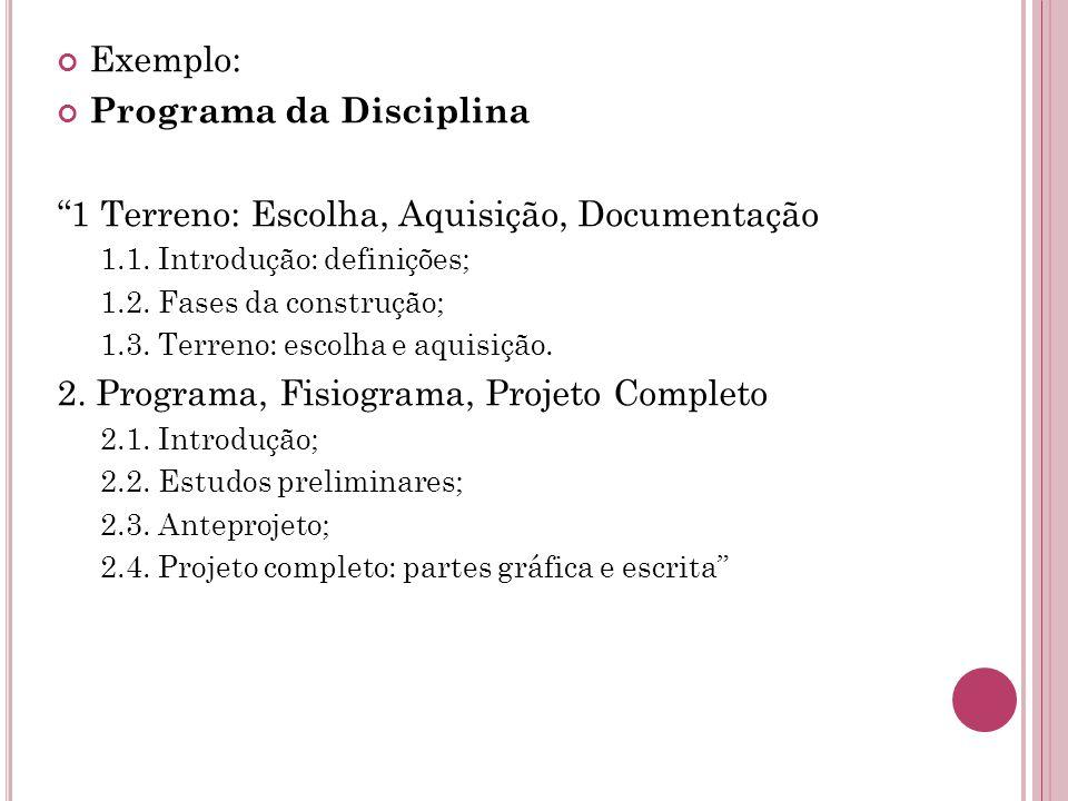 Exemplo: Programa da Disciplina 1 Terreno: Escolha, Aquisição, Documentação 1.1.