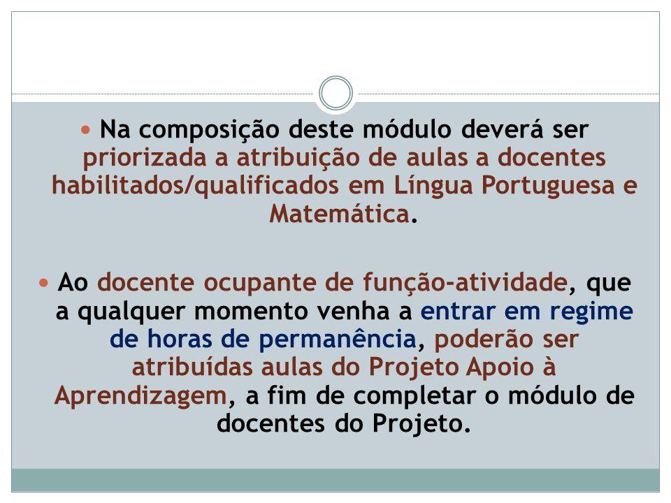 Na composição deste módulo deverá ser priorizada a atribuição de aulas a docentes habilitados/qualificados em Língua Portuguesa e Matemática. Ao docen