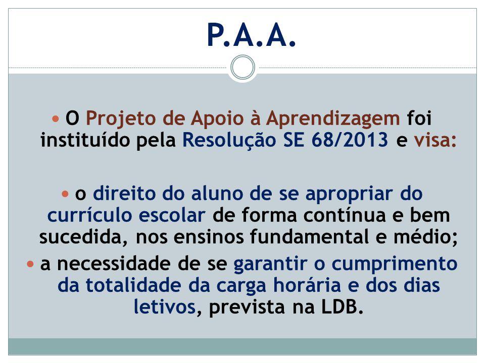 O Projeto de Apoio à Aprendizagem foi instituído pela Resolução SE 68/2013 e visa: o direito do aluno de se apropriar do currículo escolar de forma co