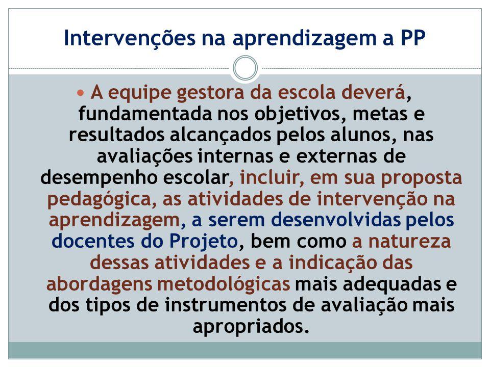 Intervenções na aprendizagem a PP A equipe gestora da escola deverá, fundamentada nos objetivos, metas e resultados alcançados pelos alunos, nas avali