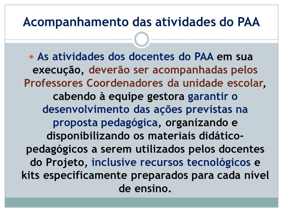 Acompanhamento das atividades do PAA As atividades dos docentes do PAA em sua execução, deverão ser acompanhadas pelos Professores Coordenadores da un