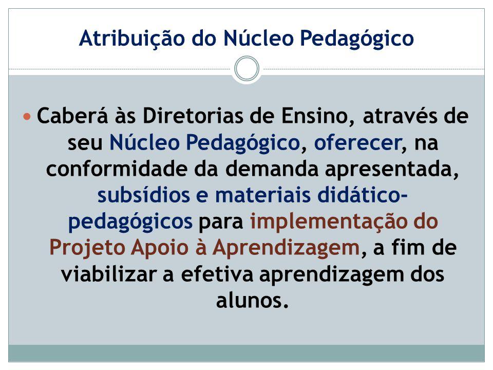 Atribuição do Núcleo Pedagógico Caberá às Diretorias de Ensino, através de seu Núcleo Pedagógico, oferecer, na conformidade da demanda apresentada, su