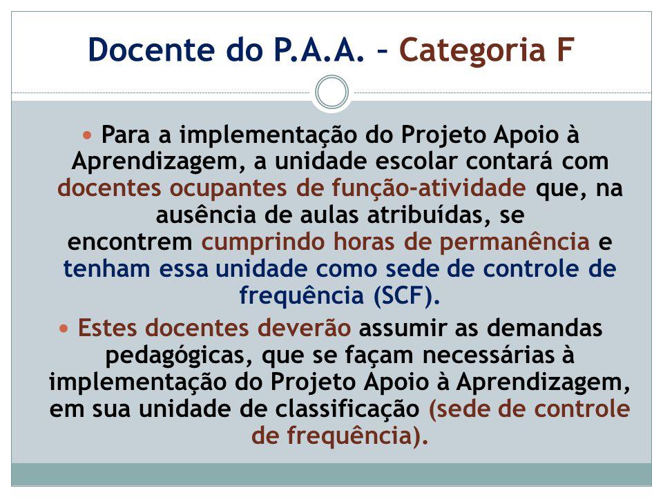 Docente do P.A.A. – Categoria F Para a implementação do Projeto Apoio à Aprendizagem, a unidade escolar contará com docentes ocupantes de função-ativi