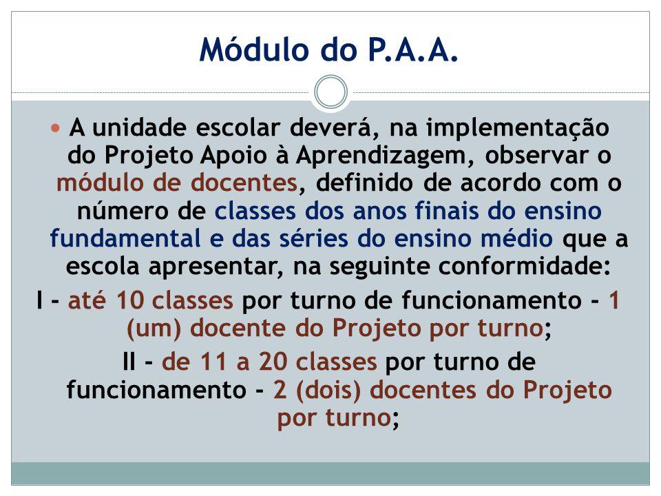 Módulo do P.A.A. A unidade escolar deverá, na implementação do Projeto Apoio à Aprendizagem, observar o módulo de docentes, definido de acordo com o n