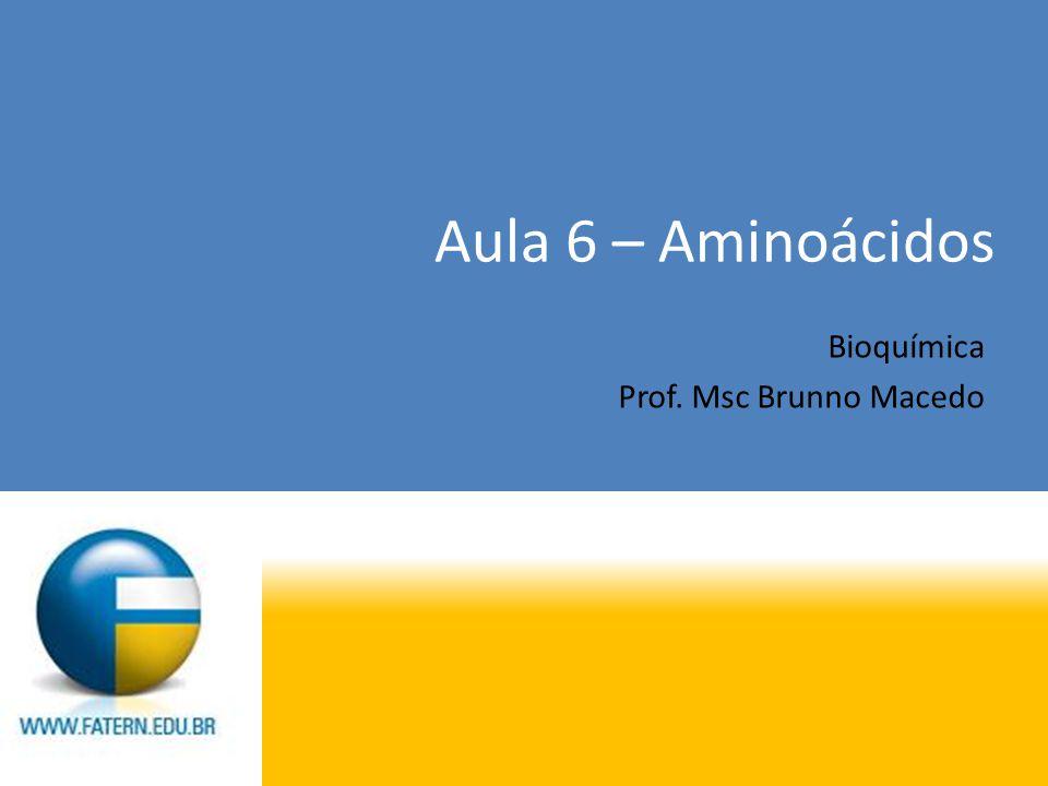 Aula 6 – Aminoácidos Bioquímica Prof. Msc Brunno Macedo