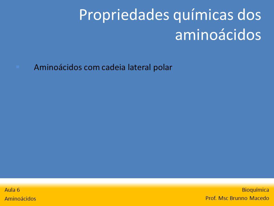 Propriedades químicas dos aminoácidos Bioquímica Prof.