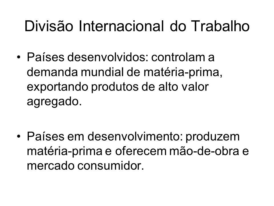 Divisão Internacional do Trabalho Países desenvolvidos: controlam a demanda mundial de matéria-prima, exportando produtos de alto valor agregado.