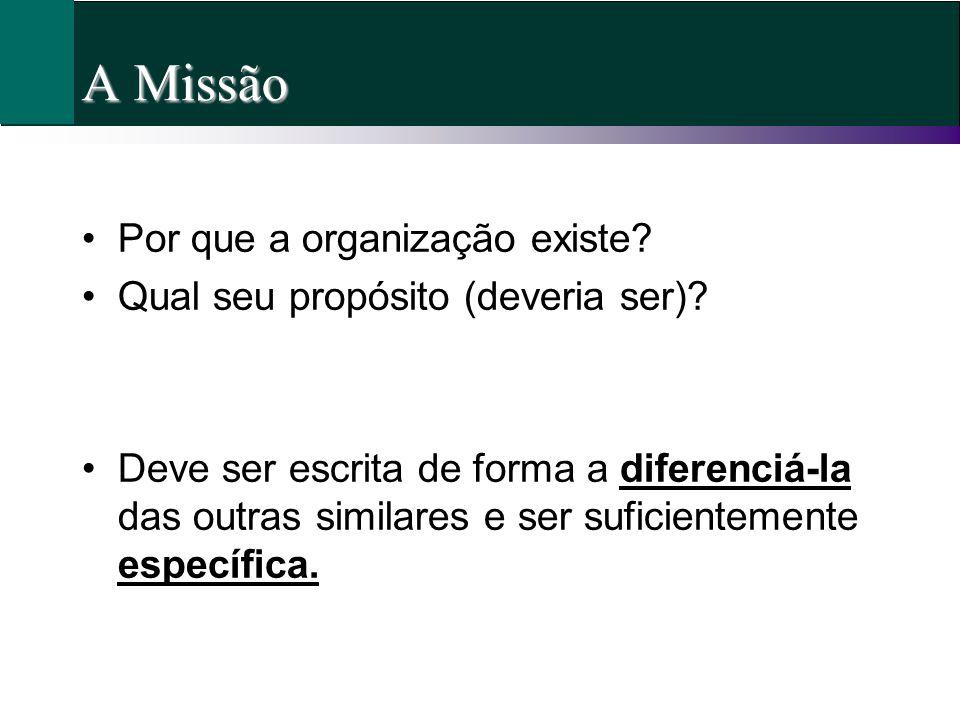 A Missão Por que a organização existe? Qual seu propósito (deveria ser)? Deve ser escrita de forma a diferenciá-la das outras similares e ser suficien
