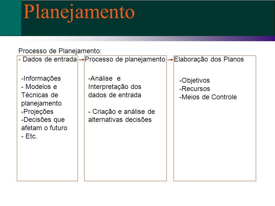 Processo de Planejamento: - Dados de entrada – Processo de planejamento – Elaboração dos Planos -Análise e Interpretação dos dados de entrada - Criaçã