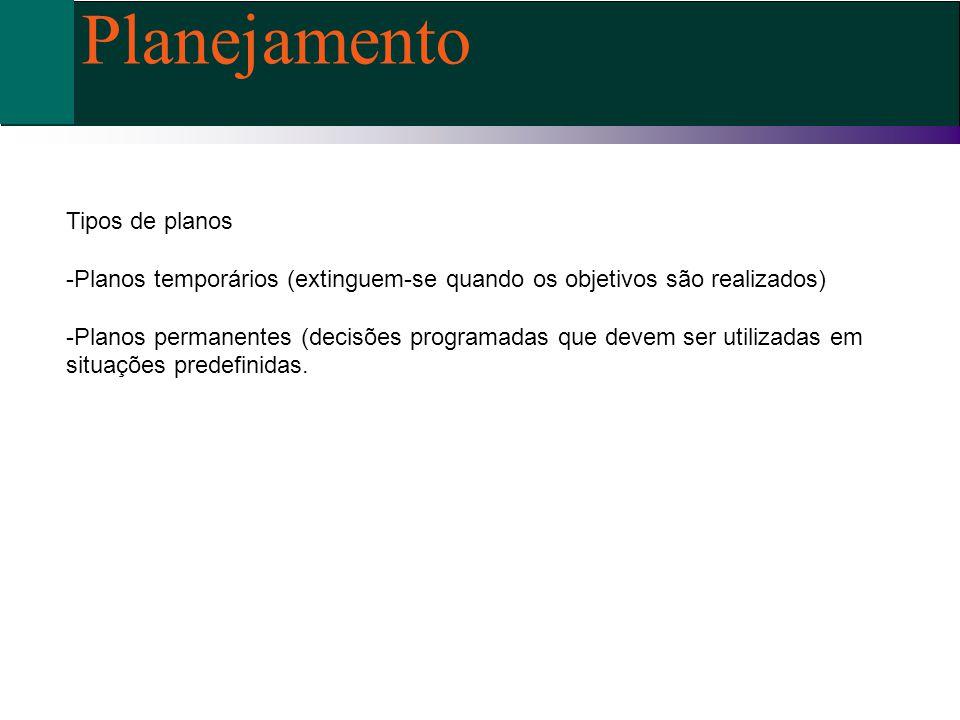 Tipos de planos -Planos temporários (extinguem-se quando os objetivos são realizados) -Planos permanentes (decisões programadas que devem ser utilizad