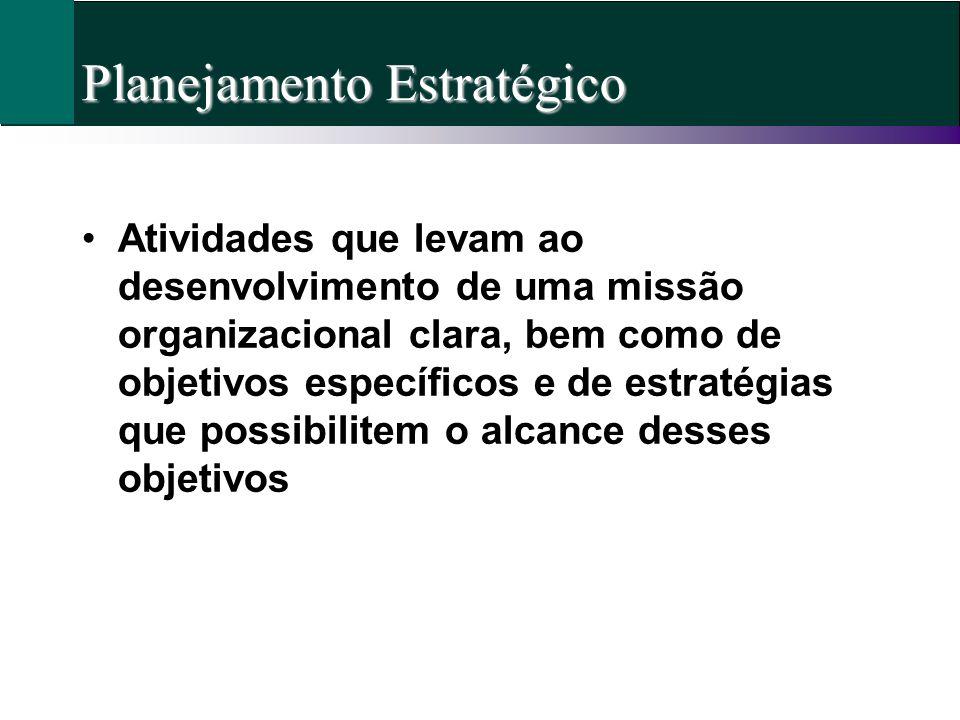Planejamento Estratégico Atividades que levam ao desenvolvimento de uma missão organizacional clara, bem como de objetivos específicos e de estratégia