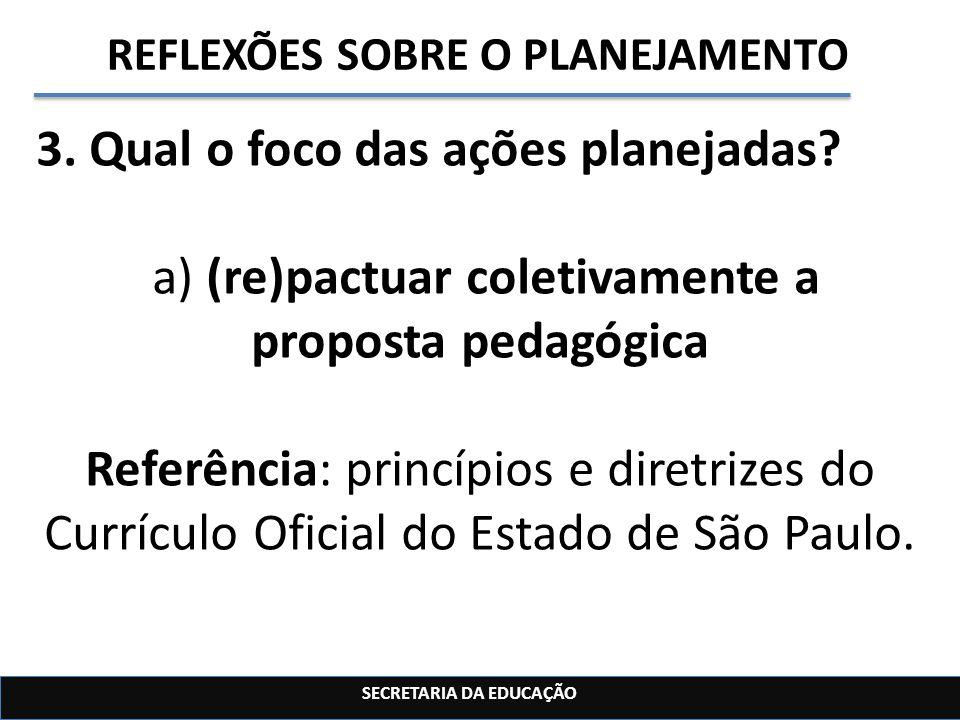 SECRETARIA DA EDUCAÇÃO REFLEXÕES SOBRE O PLANEJAMENTO 3. Qual o foco das ações planejadas? a) (re)pactuar coletivamente a proposta pedagógica Referênc