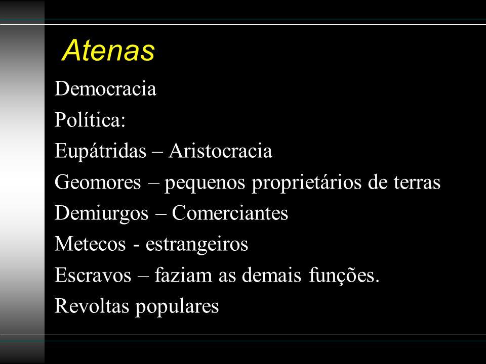 Atenas Democracia Política: Eupátridas – Aristocracia Geomores – pequenos proprietários de terras Demiurgos – Comerciantes Metecos - estrangeiros Escr