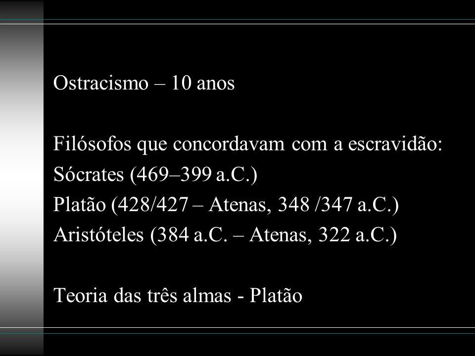 Ostracismo – 10 anos Filósofos que concordavam com a escravidão: Sócrates (469–399 a.C.) Platão (428/427 – Atenas, 348 /347 a.C.) Aristóteles (384 a.C