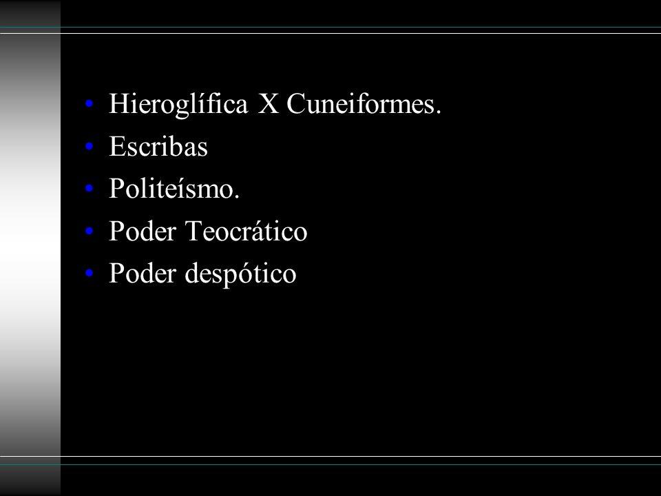 Hieroglífica X Cuneiformes. Escribas Politeísmo. Poder Teocrático Poder despótico