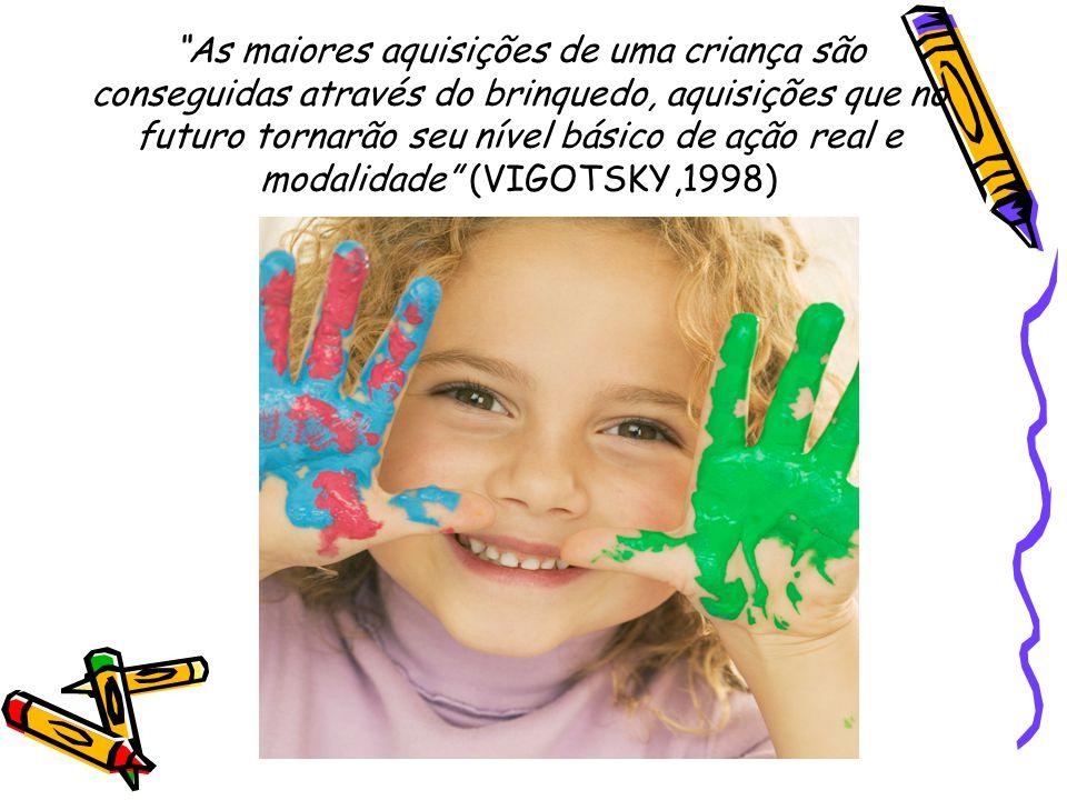As maiores aquisições de uma criança são conseguidas através do brinquedo, aquisições que no futuro tornarão seu nível básico de ação real e modalidade (VIGOTSKY,1998)