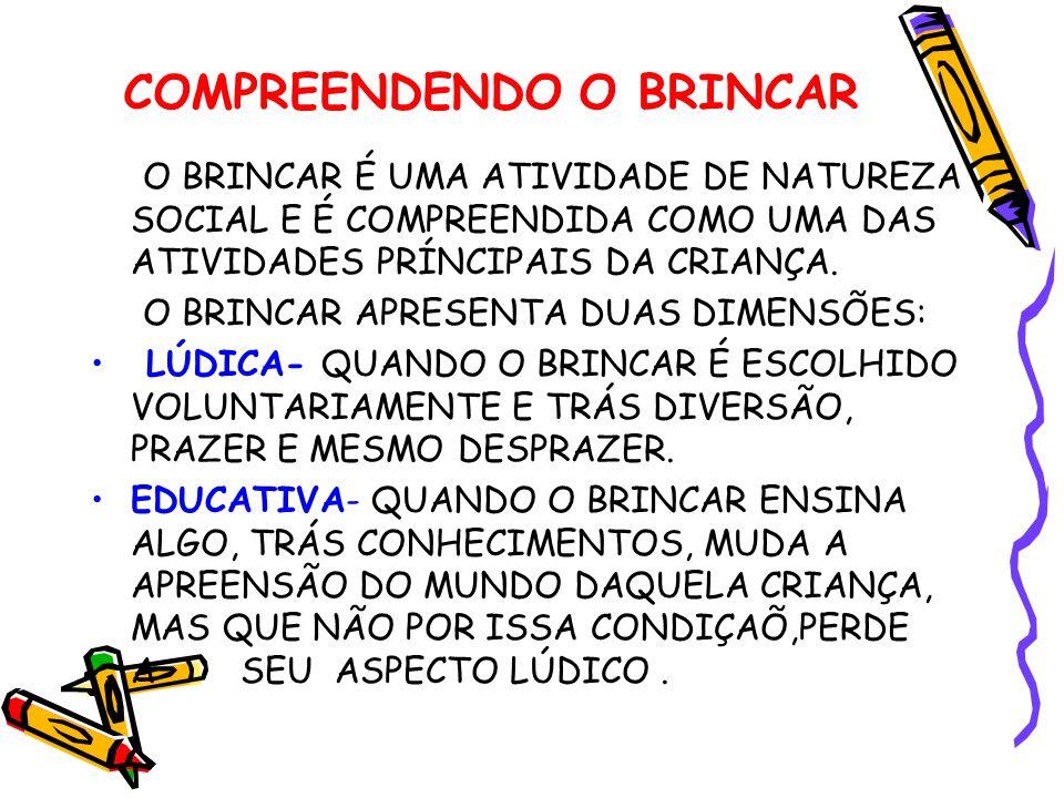 COMPREENDENDO O BRINCAR O BRINCAR É UMA ATIVIDADE DE NATUREZA SOCIAL E É COMPREENDIDA COMO UMA DAS ATIVIDADES PRÍNCIPAIS DA CRIANÇA.