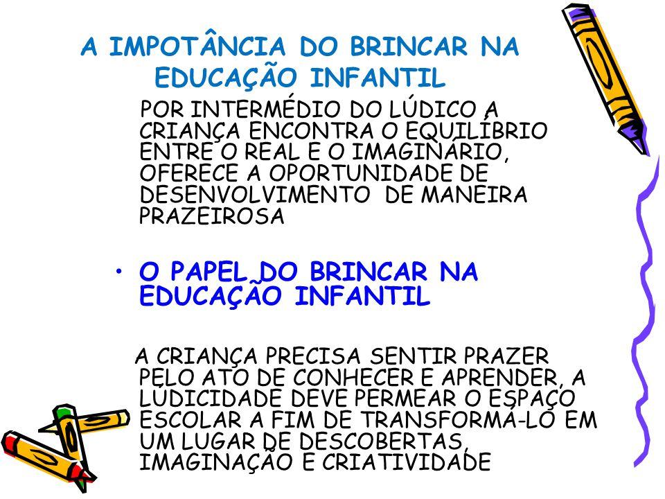 A IMPOTÂNCIA DO BRINCAR NA EDUCAÇÃO INFANTIL POR INTERMÉDIO DO LÚDICO A CRIANÇA ENCONTRA O EQUILÍBRIO ENTRE O REAL E O IMAGINÁRIO, OFERECE A OPORTUNIDADE DE DESENVOLVIMENTO DE MANEIRA PRAZEIROSA O PAPEL DO BRINCAR NA EDUCAÇÃO INFANTIL A CRIANÇA PRECISA SENTIR PRAZER PELO ATO DE CONHECER E APRENDER, A LÚDICIDADE DEVE PERMEAR O ESPAÇO ESCOLAR A FIM DE TRANSFORMÁ-LO EM UM LUGAR DE DESCOBERTAS, IMAGINAÇÃO E CRIATIVIDADE