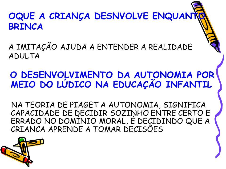 OQUE A CRIANÇA DESNVOLVE ENQUANTO BRINCA A IMITAÇÃO AJUDA A ENTENDER A REALIDADE ADULTA O DESENVOLVIMENTO DA AUTONOMIA POR MEIO DO LÚDICO NA EDUCAÇÃO INFANTIL NA TEORIA DE PIAGET A AUTONOMIA, SIGNIFICA CAPACIDADE DE DECIDIR SOZINHO ENTRE CERTO E ERRADO NO DOMÍNIO MORAL, É DECIDINDO QUE A CRIANÇA APRENDE A TOMAR DECISÕES