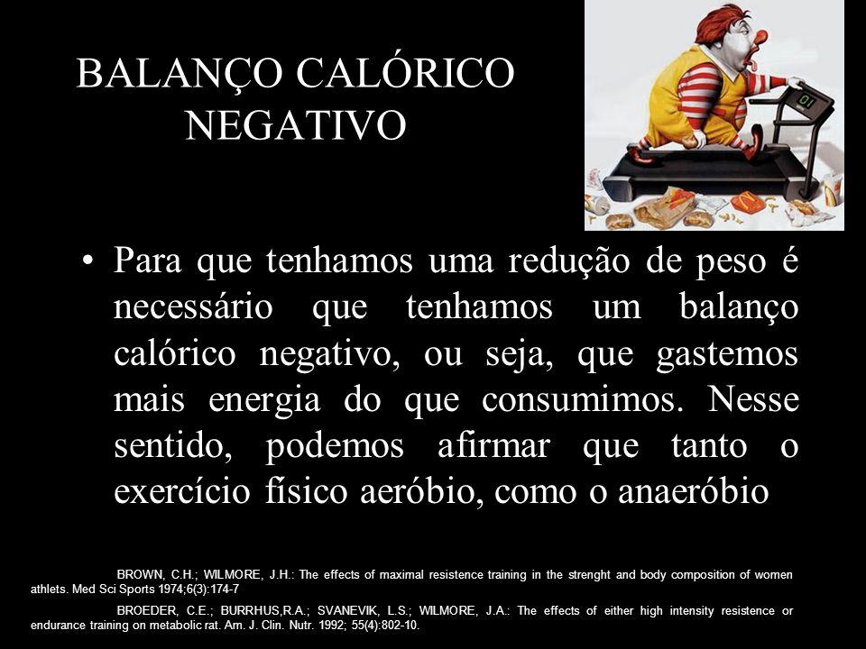 BALANÇO CALÓRICO NEGATIVO Para que tenhamos uma redução de peso é necessário que tenhamos um balanço calórico negativo, ou seja, que gastemos mais energia do que consumimos.