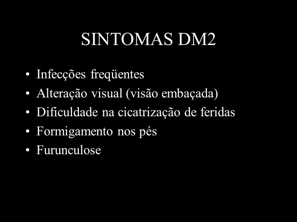 SINTOMAS DM2 Infecções freqüentes Alteração visual (visão embaçada) Dificuldade na cicatrização de feridas Formigamento nos pés Furunculose