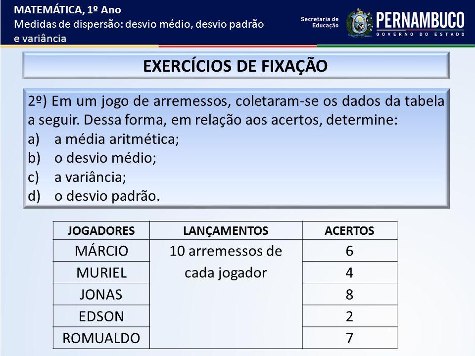 EXERCÍCIOS DE FIXAÇÃO 2º) Em um jogo de arremessos, coletaram-se os dados da tabela a seguir. Dessa forma, em relação aos acertos, determine: a)a médi