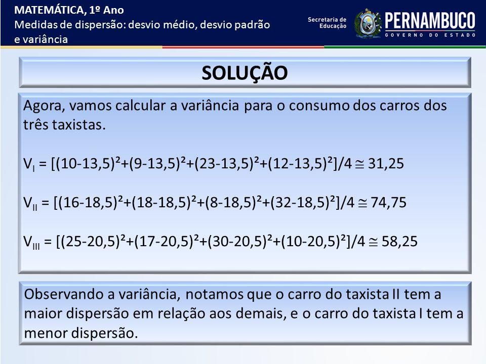 Agora, vamos calcular a variância para o consumo dos carros dos três taxistas. V I = [(10-13,5)²+(9-13,5)²+(23-13,5)²+(12-13,5)²]/4  31,25 V II = [(1
