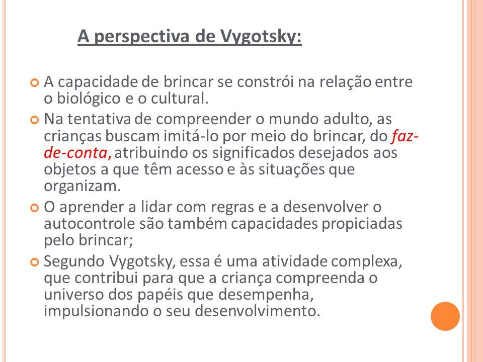 A perspectiva de Vygotsky: A capacidade de brincar se constrói na relação entre o biológico e o cultural. Na tentativa de compreender o mundo adulto,