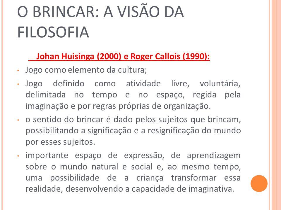 O BRINCAR: A VISÃO DA FILOSOFIA Johan Huisinga (2000) e Roger Callois (1990): Jogo como elemento da cultura; Jogo definido como atividade livre, volun