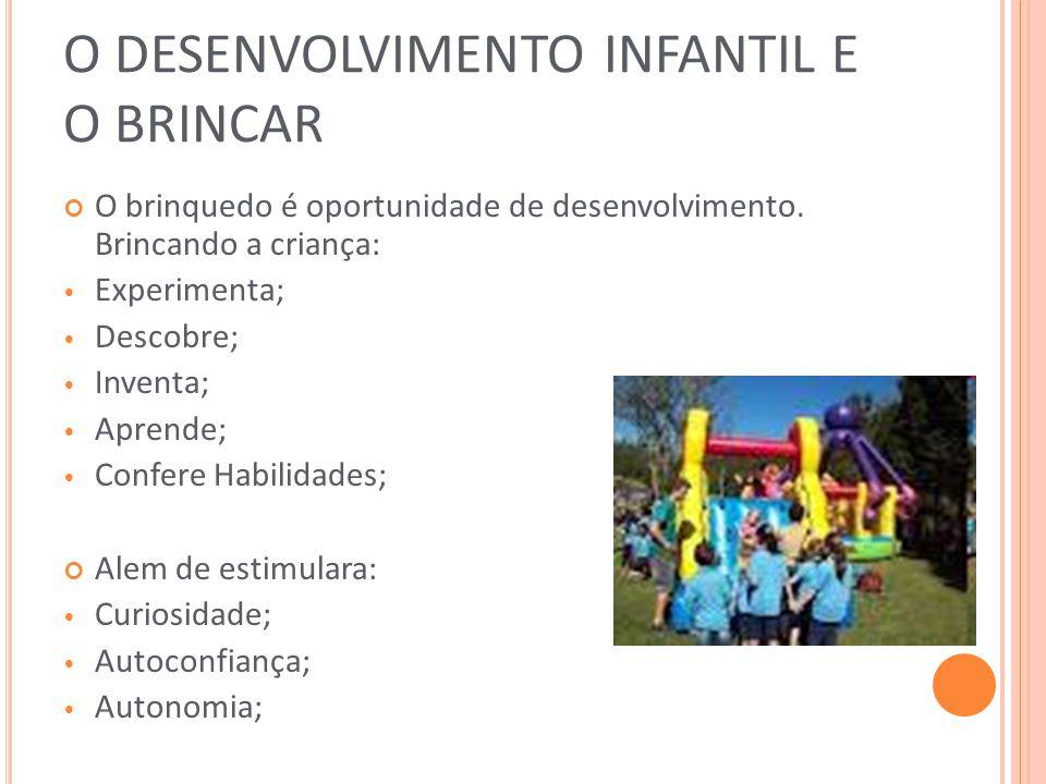 O DESENVOLVIMENTO INFANTIL E O BRINCAR O brinquedo é oportunidade de desenvolvimento. Brincando a criança: Experimenta; Descobre; Inventa; Aprende; Co