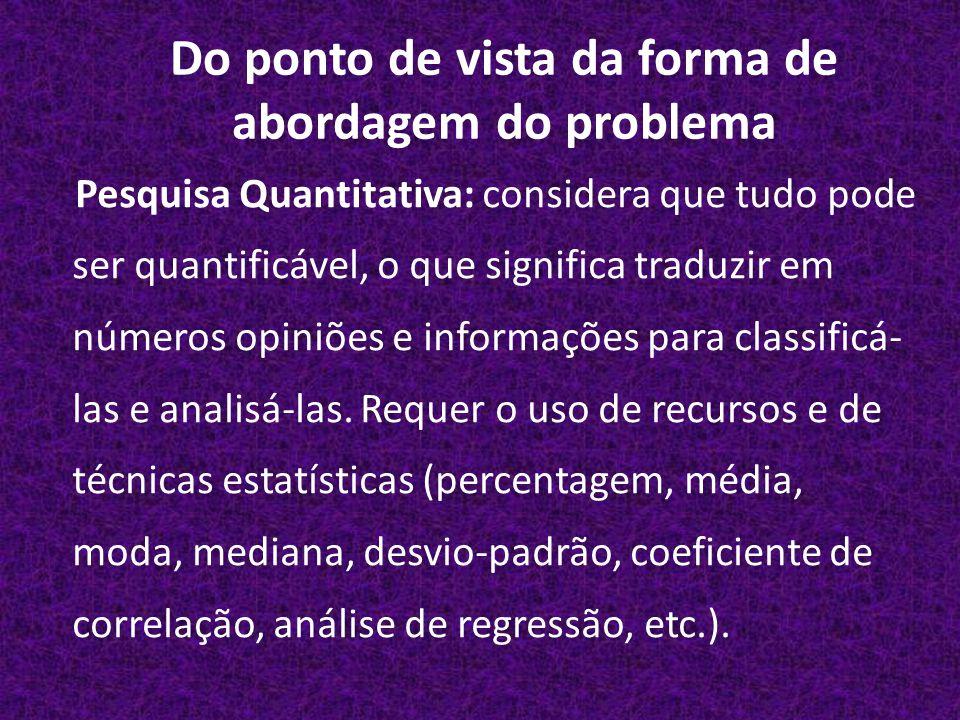 Do ponto de vista da forma de abordagem do problema Pesquisa Quantitativa: considera que tudo pode ser quantificável, o que significa traduzir em números opiniões e informações para classificá- las e analisá-las.