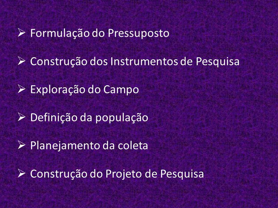  Formulação do Pressuposto  Construção dos Instrumentos de Pesquisa  Exploração do Campo  Definição da população  Planejamento da coleta  Construção do Projeto de Pesquisa