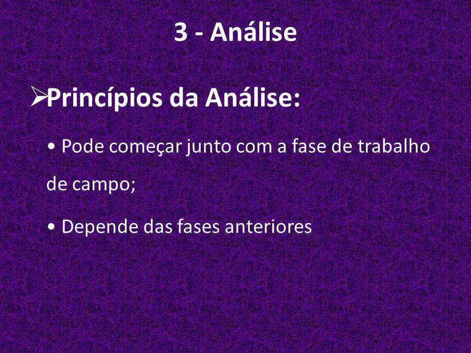 3 - Análise  Princípios da Análise: Pode começar junto com a fase de trabalho de campo; Depende das fases anteriores
