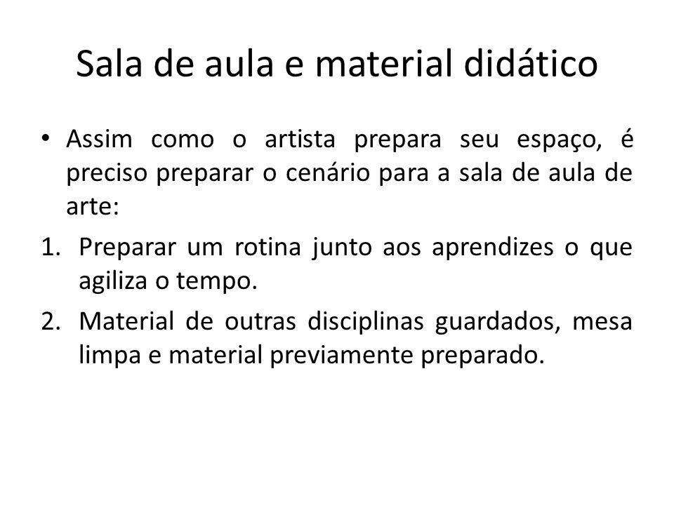 Sala de aula e material didático Assim como o artista prepara seu espaço, é preciso preparar o cenário para a sala de aula de arte: 1.Preparar um roti