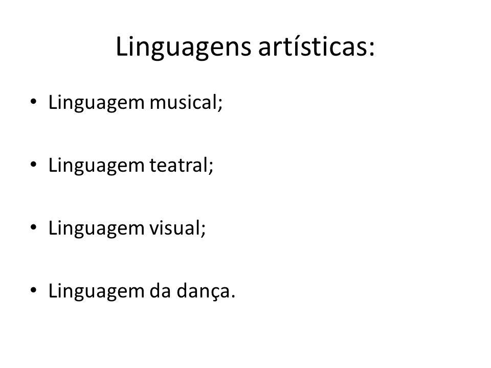 Linguagens artísticas: Linguagem musical; Linguagem teatral; Linguagem visual; Linguagem da dança.