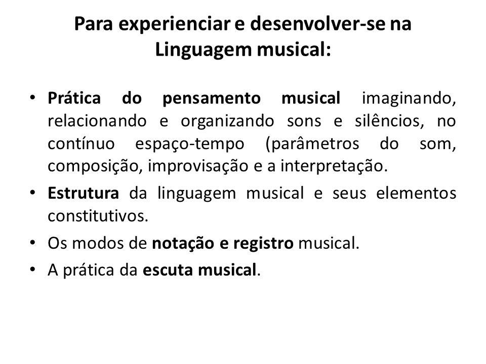 Para experienciar e desenvolver-se na Linguagem musical: Prática do pensamento musical imaginando, relacionando e organizando sons e silêncios, no con