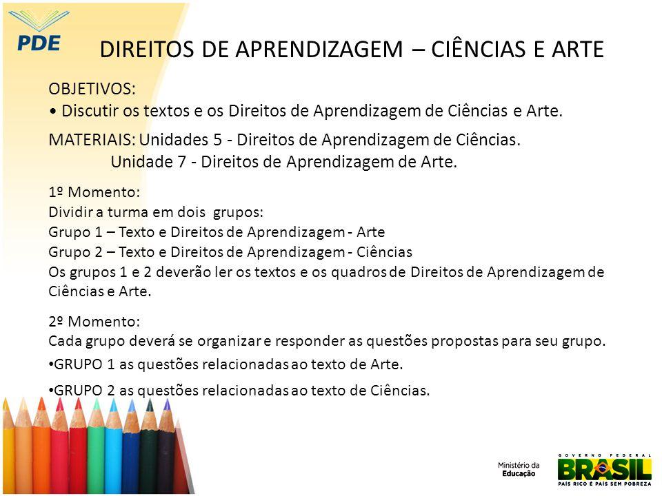DIREITOS DE APRENDIZAGEM – CIÊNCIAS E ARTE OBJETIVOS: Discutir os textos e os Direitos de Aprendizagem de Ciências e Arte. MATERIAIS: Unidades 5 - Dir