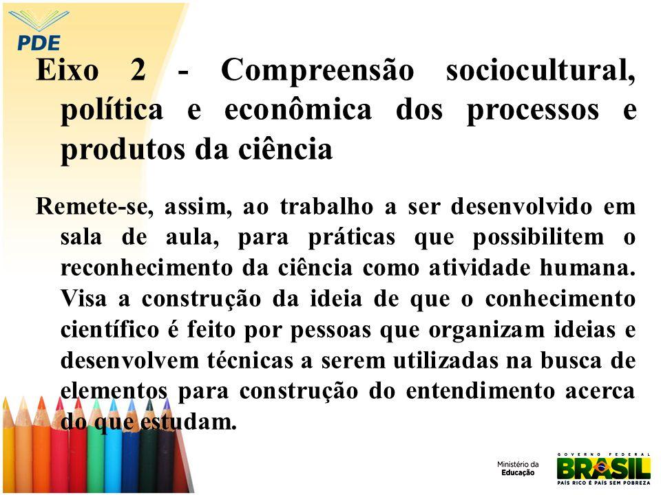 Eixo 2 - Compreensão sociocultural, política e econômica dos processos e produtos da ciência Remete-se, assim, ao trabalho a ser desenvolvido em sala