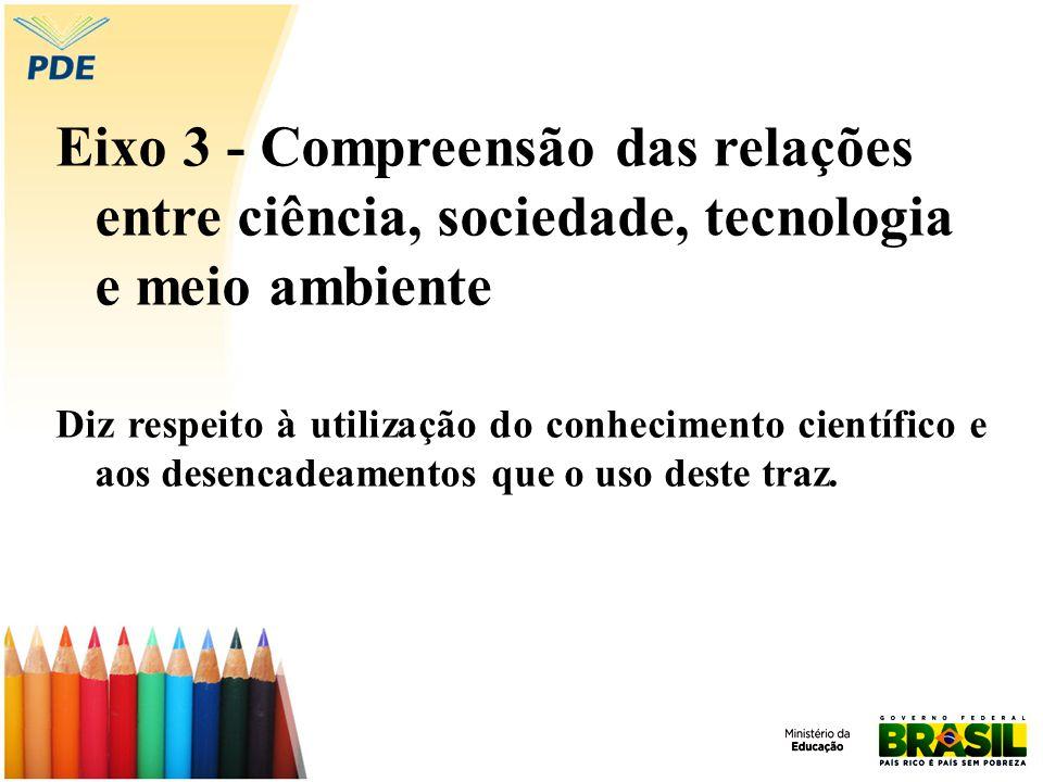 Eixo 3 - Compreensão das relações entre ciência, sociedade, tecnologia e meio ambiente Diz respeito à utilização do conhecimento científico e aos desencadeamentos que o uso deste traz.