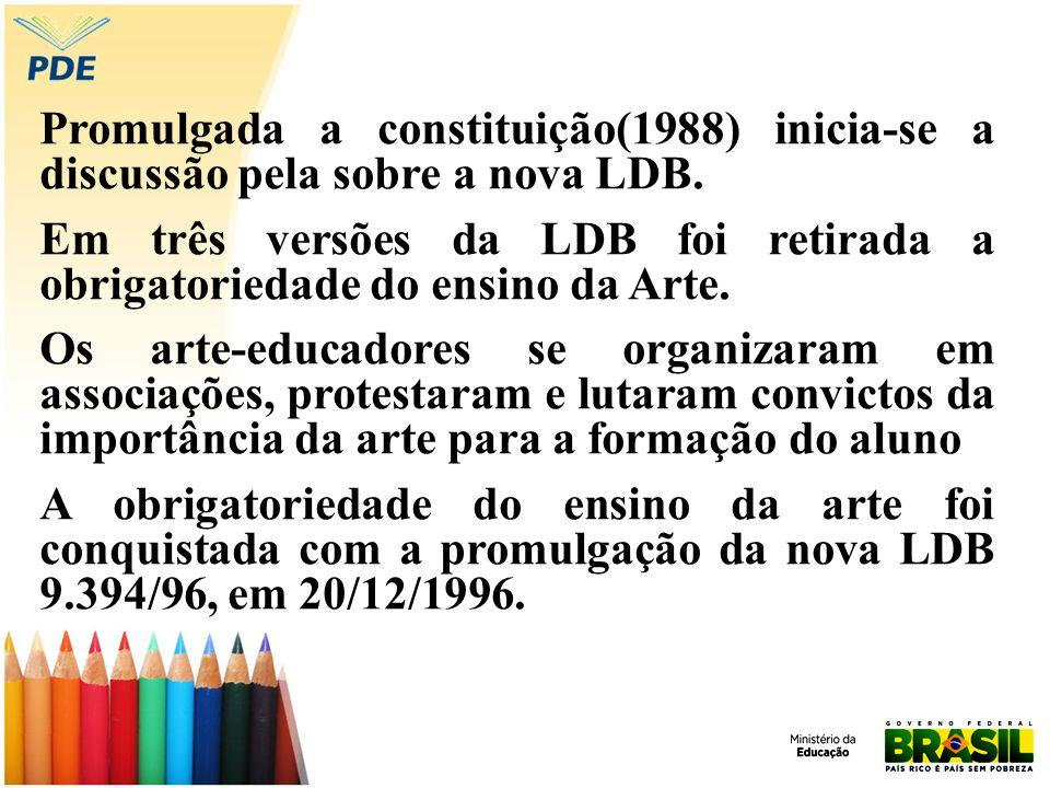 Promulgada a constituição(1988) inicia-se a discussão pela sobre a nova LDB. Em três versões da LDB foi retirada a obrigatoriedade do ensino da Arte.