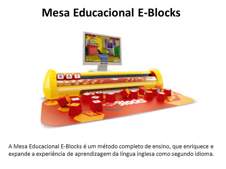 Mesa Educacional E-Blocks A Mesa Educacional E-Blocks é um método completo de ensino, que enriquece e expande a experiência de aprendizagem da língua inglesa como segundo idioma.