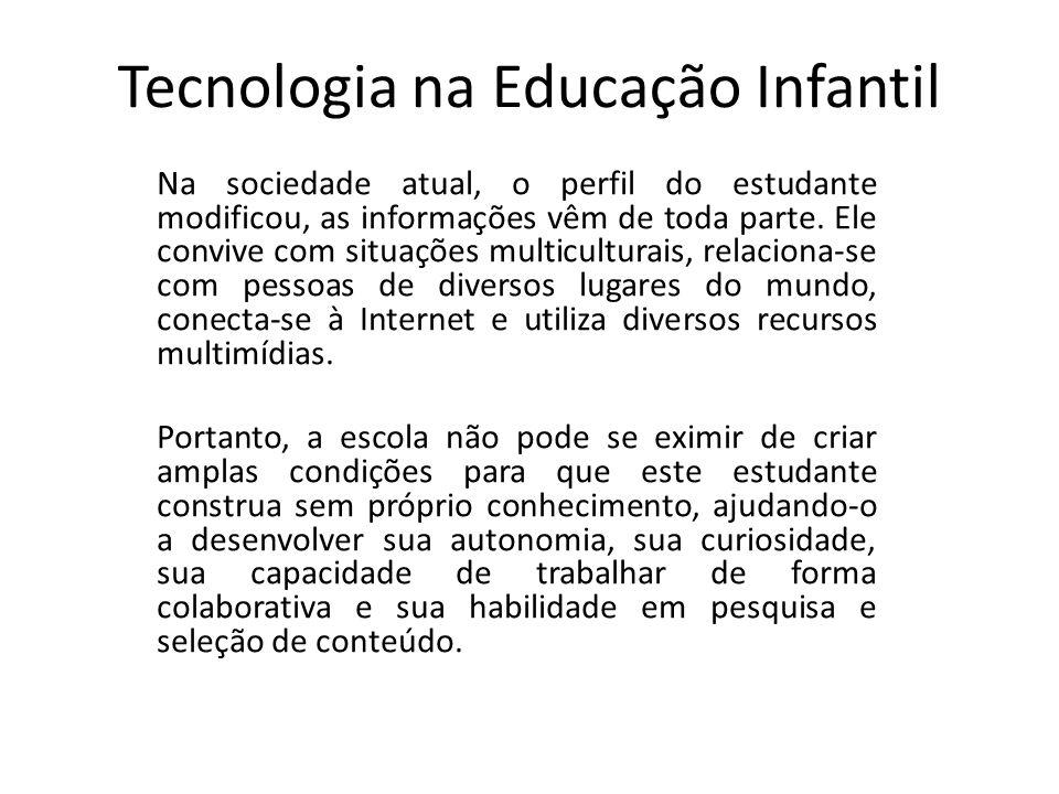 Tecnologia na Educação Infantil Na sociedade atual, o perfil do estudante modificou, as informações vêm de toda parte.