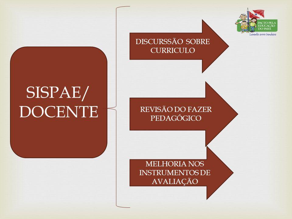 SISPAE/ DOCENTE DISCURSSÃO SOBRE CURRICULO REVISÃO DO FAZER PEDAGÓGICO MELHORIA NOS INSTRUMENTOS DE AVALIAÇÃO