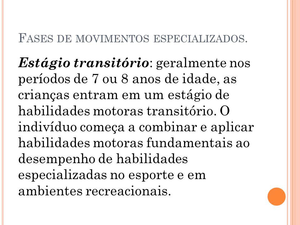 F ASES DE MOVIMENTOS ESPECIALIZADOS.