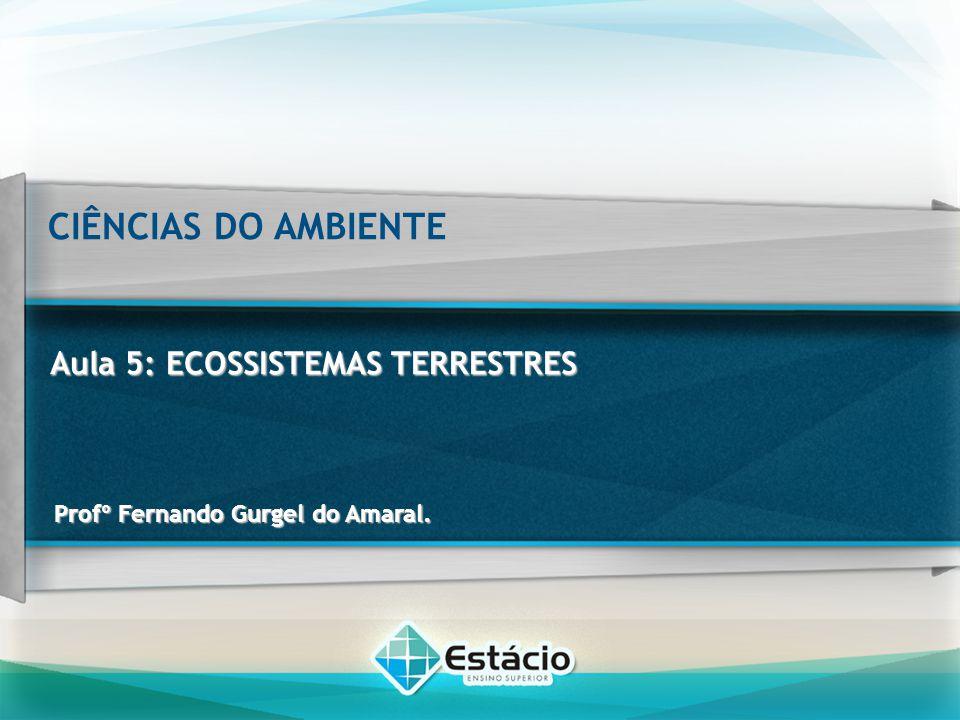 CIÊNCIAS DO AMBIENTE Aula 5: ECOSSISTEMAS TERRESTRES Conteúdo programático Conceito de ecossistema e suas diferentes abordagens, bem como sua estrutura e funcionamento; Níveis de organização dos ecossistemas terrestres; Conceitos relacionados aos componentes dos ecossistemas terrestres, bem como sua estrutura trófica, diversidade e interações bióticas; e Ciclos da matéria e da energia dos ecossistemas terrestres.