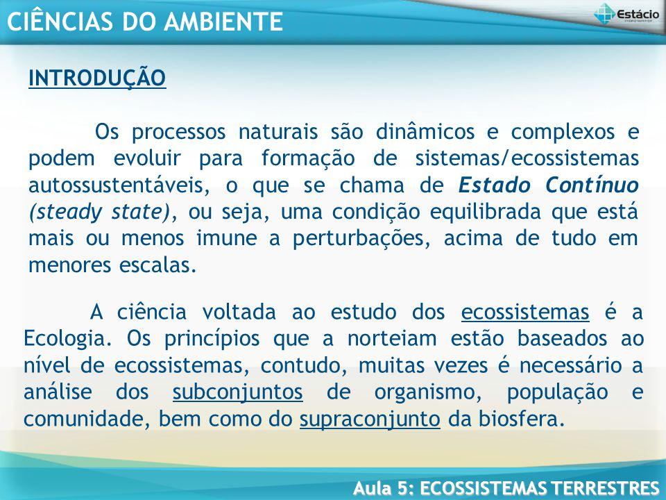 CIÊNCIAS DO AMBIENTE Aula 5: ECOSSISTEMAS TERRESTRES A biodiversidade depende da diversidade ecológica, da diversidade de espécies, da diversidade genética e da diversidade funcional dos ecossistemas.