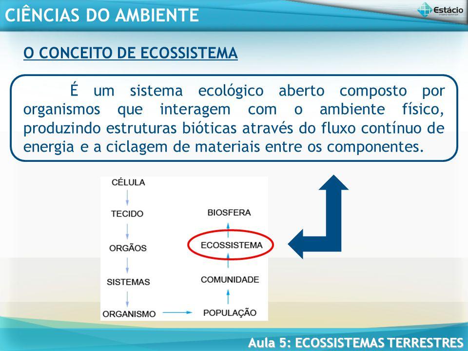 CIÊNCIAS DO AMBIENTE Aula 5: ECOSSISTEMAS TERRESTRES COMUNIDADE NOS ECOSSISTEMAS A comunidade representa um nível de organização abaixo dos ecossistemas, portanto, a formação de um ecossistema depende da presença dessa comunidade.