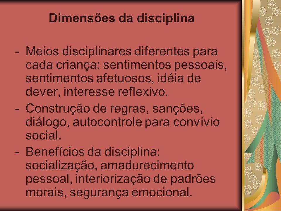Dimensões da disciplina -Meios disciplinares diferentes para cada criança: sentimentos pessoais, sentimentos afetuosos, idéia de dever, interesse refl