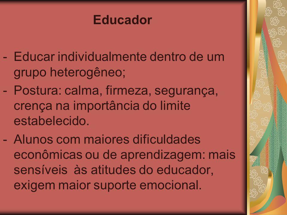 Educador -Educar individualmente dentro de um grupo heterogêneo; -Postura: calma, firmeza, segurança, crença na importância do limite estabelecido. -A