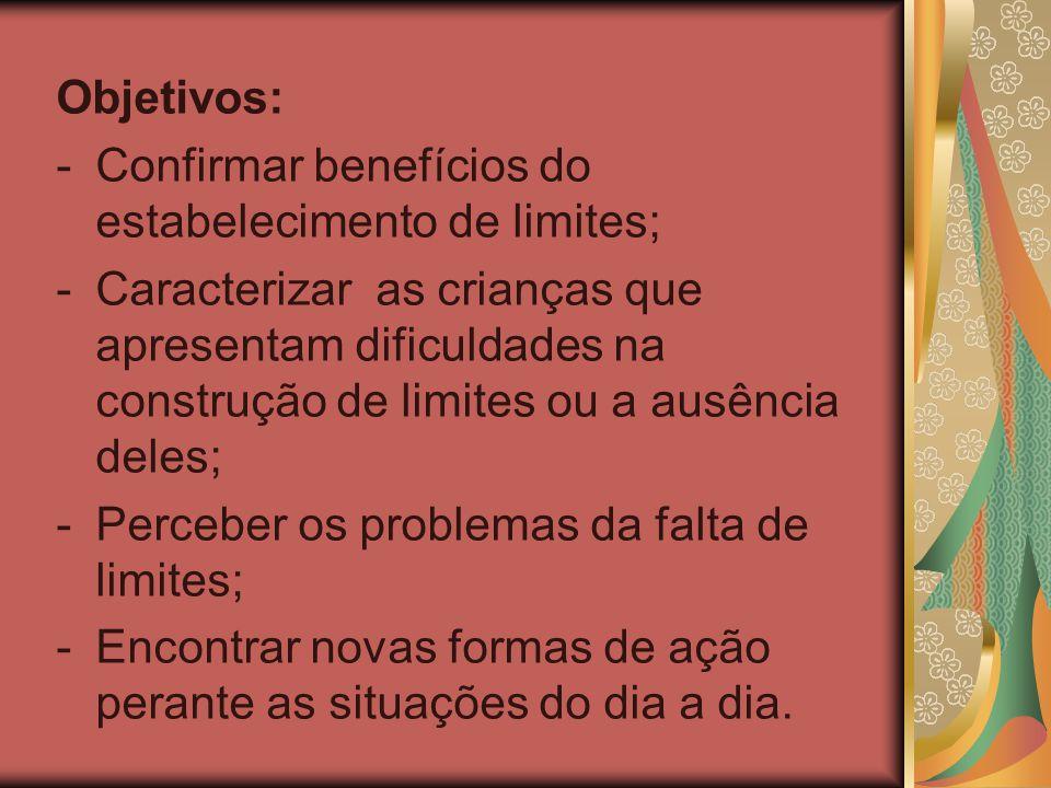 Objetivos: -Confirmar benefícios do estabelecimento de limites; -Caracterizar as crianças que apresentam dificuldades na construção de limites ou a au